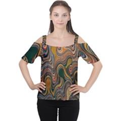 Swirl Colour Design Color Texture Women s Cutout Shoulder Tee