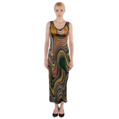 Swirl Colour Design Color Texture Fitted Maxi Dress