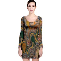 Swirl Colour Design Color Texture Long Sleeve Velvet Bodycon Dress