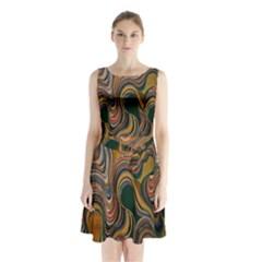Swirl Colour Design Color Texture Sleeveless Chiffon Waist Tie Dress