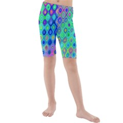 Background Texture Pattern Colorful Kids  Mid Length Swim Shorts