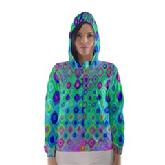 Background Texture Pattern Colorful Hooded Wind Breaker (women)