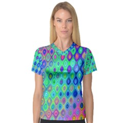 Background Texture Pattern Colorful Women s V-Neck Sport Mesh Tee