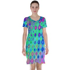 Background Texture Pattern Colorful Short Sleeve Nightdress