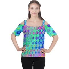 Background Texture Pattern Colorful Women s Cutout Shoulder Tee