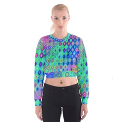 Background Texture Pattern Colorful Women s Cropped Sweatshirt