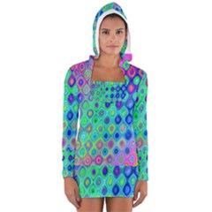 Background Texture Pattern Colorful Women s Long Sleeve Hooded T-shirt