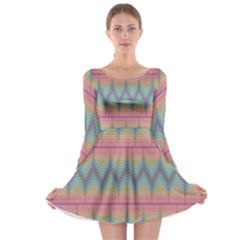 Pattern Background Texture Colorful Long Sleeve Skater Dress