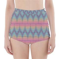 Pattern Background Texture Colorful High-Waisted Bikini Bottoms