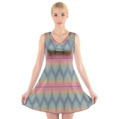 Pattern Background Texture Colorful V-Neck Sleeveless Skater Dress