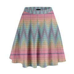 Pattern Background Texture Colorful High Waist Skirt