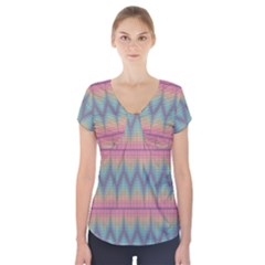Pattern Background Texture Colorful Short Sleeve Front Detail Top