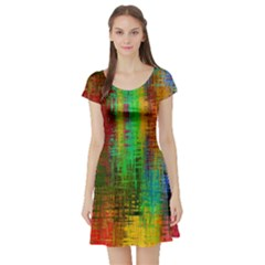 Color Abstract Background Textures Short Sleeve Skater Dress