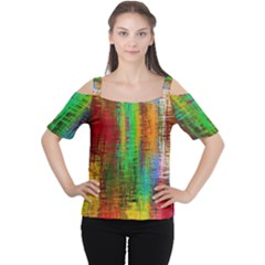 Color Abstract Background Textures Women s Cutout Shoulder Tee
