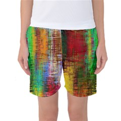 Color Abstract Background Textures Women s Basketball Shorts