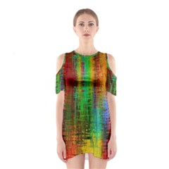 Color Abstract Background Textures Shoulder Cutout One Piece