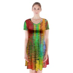 Color Abstract Background Textures Short Sleeve V-neck Flare Dress