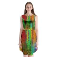 Color Abstract Background Textures Sleeveless Chiffon Dress