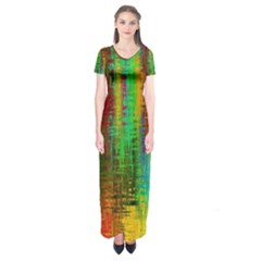 Color Abstract Background Textures Short Sleeve Maxi Dress