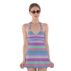 Backgrounds Pattern Lines Wall Halter Swimsuit Dress
