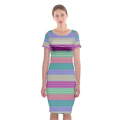 Backgrounds Pattern Lines Wall Classic Short Sleeve Midi Dress