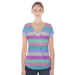 Backgrounds Pattern Lines Wall Short Sleeve Front Detail Top