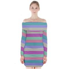 Backgrounds Pattern Lines Wall Long Sleeve Off Shoulder Dress
