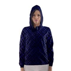 Woven2 Black Marble & Blue Leather (r) Hooded Wind Breaker (women)