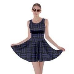WOV1 BK-MRBL BL-LTHR Skater Dress