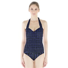 Woven1 Black Marble & Blue Leather Halter Swimsuit