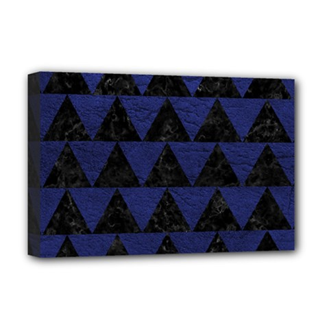 Triangle2 Black Marble & Blue Leather Deluxe Canvas 18  X 12  (stretched)