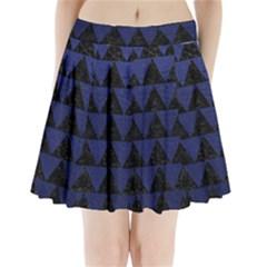 TRI2 BK-MRBL BL-LTHR Pleated Mini Skirt