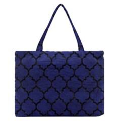 TIL1 BK-MRBL BL-LTHR (R) Medium Zipper Tote Bag