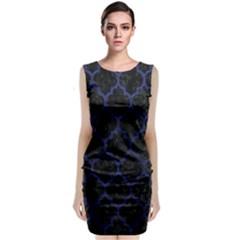 TIL1 BK-MRBL BL-LTHR Classic Sleeveless Midi Dress