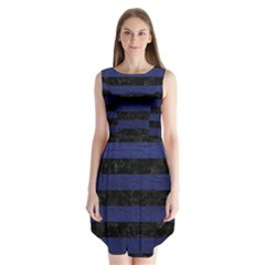 Stripes2 Black Marble & Blue Leather Sleeveless Chiffon Dress