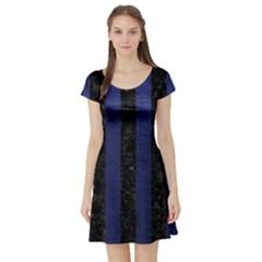 STR1 BK-MRBL BL-LTHR Short Sleeve Skater Dress