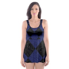 SQR2 BK-MRBL BL-LTHR Skater Dress Swimsuit