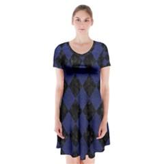 SQR2 BK-MRBL BL-LTHR Short Sleeve V-neck Flare Dress