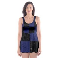 SQR1 BK-MRBL BL-LTHR Skater Dress Swimsuit