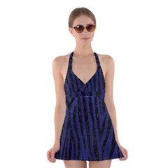 SKN4 BK-MRBL BL-LTHR Halter Swimsuit Dress
