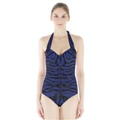 SKN2 BK-MRBL BL-LTHR (R) Halter Swimsuit