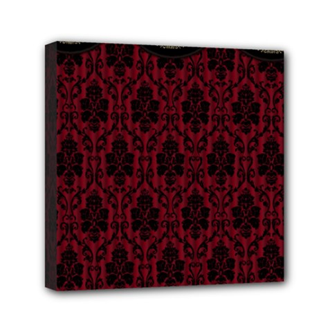 Elegant Black And Red Damask Antique Vintage Victorian Lace Style Mini Canvas 6  x 6