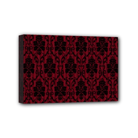 Elegant Black And Red Damask Antique Vintage Victorian Lace Style Mini Canvas 6  x 4