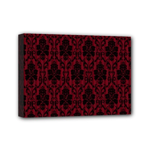 Elegant Black And Red Damask Antique Vintage Victorian Lace Style Mini Canvas 7  x 5