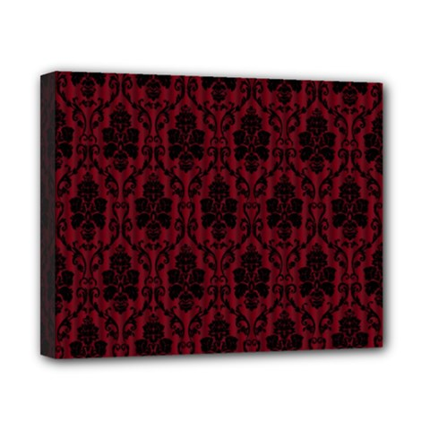 Elegant Black And Red Damask Antique Vintage Victorian Lace Style Canvas 10  x 8