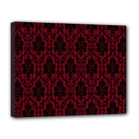 Elegant Black And Red Damask Antique Vintage Victorian Lace Style Canvas 14  x 11