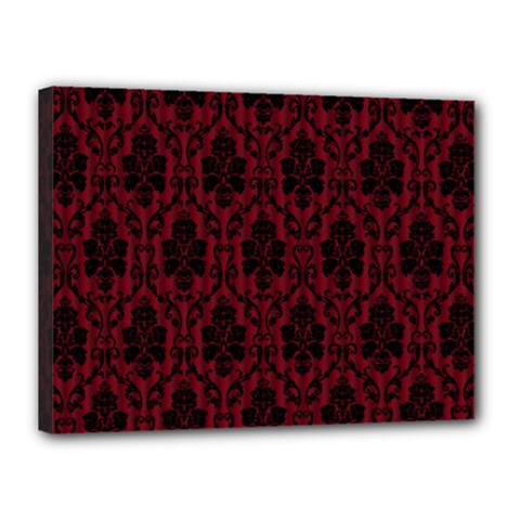 Elegant Black And Red Damask Antique Vintage Victorian Lace Style Canvas 16  x 12