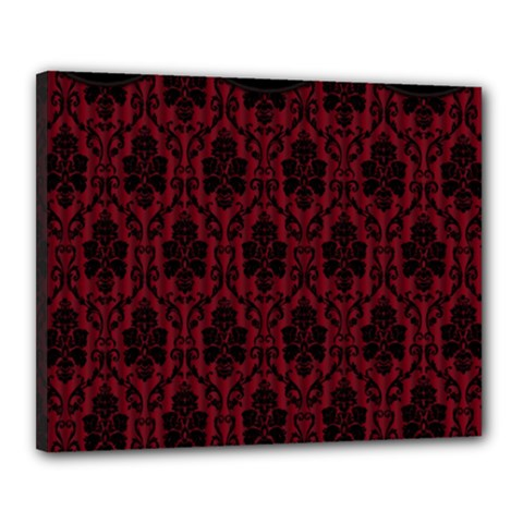 Elegant Black And Red Damask Antique Vintage Victorian Lace Style Canvas 20  x 16