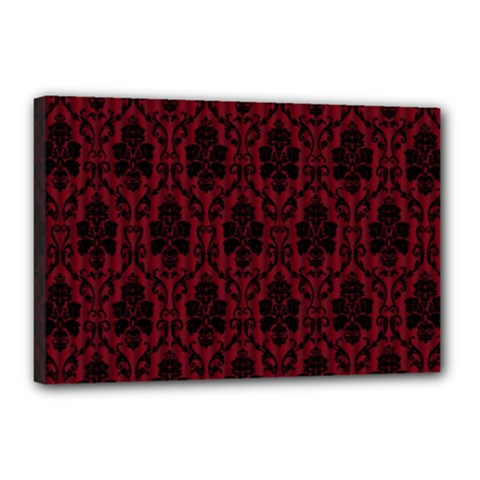 Elegant Black And Red Damask Antique Vintage Victorian Lace Style Canvas 18  x 12