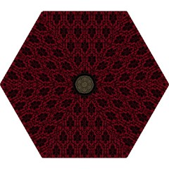 Elegant Black And Red Damask Antique Vintage Victorian Lace Style Mini Folding Umbrellas